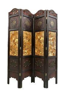 Vintage Oriental Style 4 Panels Screen Room Divider