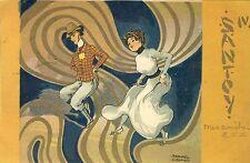 Ak 1900 Jugendstil art nouveau Raphael Kirchner Santoy Geisha (Japan) art deco