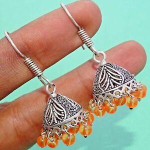 """Yellow Glass 925 Silver Plated Drop Dangle  Earrings Jewelry 1.75 """" NOE501"""