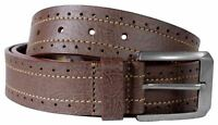Mens Perforated Border Stitch Genuine Leather Belts S-3XL