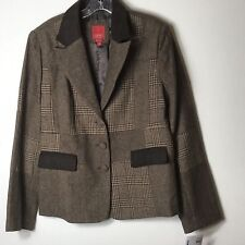 Esprit Womens Blazer Jacket SZ S 3 Button Wool Blend Tweed Brown Career Business