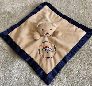 Baby Fanatic Denver Broncos Football Brown Teddy Bear Lovey Security Blanket