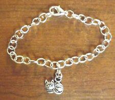 bracelet argenté 20 cm chat 15x13 mm