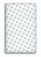 BABY FITTED COTBED SHEET 100% COTTON MATTRESS 140x70cm Big grey stars on white