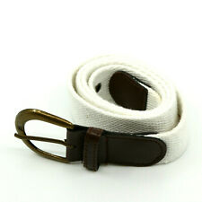 Men's White Belt with Classic Tongue Buckle & Brown Leather Details Size 29 - 30