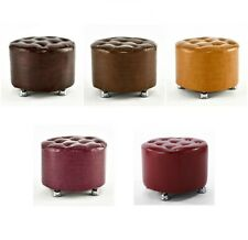 Luxury PU Leather Quilted Stools Round Various Colours