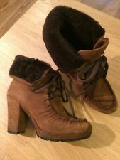 Suede Fur Lined Boots Size 38 5 Pied A Terre