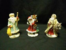Lot of (3) Santa Christmas Figurines by International Resourcing Services