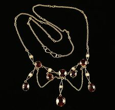 ANTIQUE VICTORIAN GARNET PEARL NECKLACE 18CT GOLD LAVALIERE