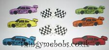8 START YOUR ENGINES RACING CAR THEMED NOVELTY CRAFT BUTTONS - CARDMAKING/SEWING