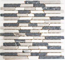 Mosaïque carreau marbre pierre beige gris noir Brique nero 40-0204_f |10 plaques