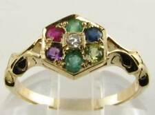 HEXAGON 9CT 9K GOLD ART DECO INS MULTISTONE DEAREST RING FREE RESIZE