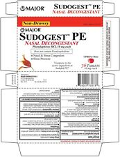 Major Sudogest PE Phenylephrine HCL 10mg congestion Compare to Sudafed 36Tab