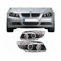 Scheinwerfer Set für BMW 3er E90 E91 05-08 klarglas/schwarz Angel Eyes SONAR