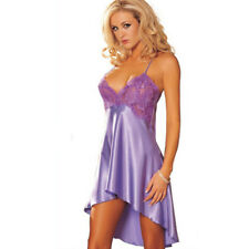 Women Sexy Sleepwear Nightgown Satin Silk Babydoll Lace Robes Sleep Dress GUT