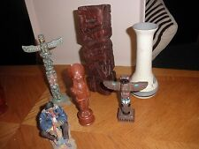 lot of totem, figurine &Grey feather vase pre owned diff. materials