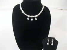 Rainbow Moonstone gem stone necklace, with matching earrings.