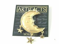 JJ Man in the Crescent Moon with Stars Vintage Brooch Pin