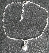 Silver plated ankle chain heart charm anklet ankle bracelet beach summer