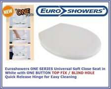 Euroshowers ONE WHITE Soft Close Toilet Seat TOP FIX BLIND HOLE Quick Release