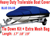 17' 18' 19' stratos Bass Trailerable Boat Cover All Weather Blue Color TSB