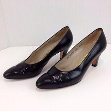 Salvatore Ferragamo Womens Pumps Black Patent Leather Lizard 6.5 B