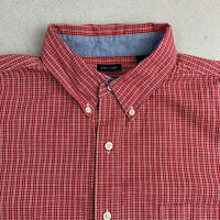 Chaps Button Up Shirt Mens XL Easy Care Red Check Short Sleeve Casual