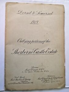 SHERBORNE CASTLE ESTATE DORSET & SOMERSET SALE 1919 CATALOGUE INCLUDES MAPS