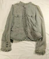 Anthropologie Gidra Green Grey Rushed Jacket Corduroy Size 4 Ruffle