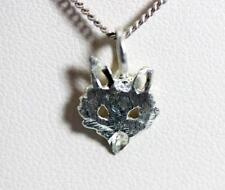 "Sterling Silver Fox Head Pendant Necklace 16"" – 10783"