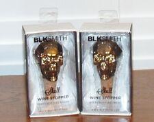 2 BLKSMITH LARGE SKULL COLLECTABLE WINE BOTTLE STOPPERS KEEPS BOTTLES FRESH NIB