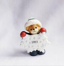 Vintage 1993 Enesco Lucy & Me Christmas Bear Figurine Holding Dated Snowflake