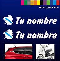 X2 PEGATINAS Bandera de Galicia + Nombre - PERSONALIZABLE -MOTO - COCHE - VINILO