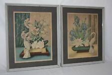 Vintage Mid Century Framed Floral Lithographs Set of 2 Iris Cranes Ikebana GOES