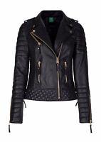Women's Genuine Lambskin Leather Motorcycle Slim fit Designer Biker Jacket SAKU