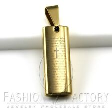 Gold Tone Stainless Steel Cross Bible Scriptures Engraved 3D Dog Tag Pendant 13A