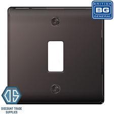 BG Nexus Metal Black Nickel 1 Gang Metal Front Cover Plate GNBN1