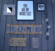 7 SET POTTERY BARN WALL SIGNS ART PLAQUES CANDLE HOLDER CANNING JAR VASE DISPLAY
