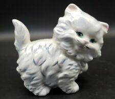 Vintage Persian Cat Ceramic Figurine*Hobbyist*signed*White*Blue Eyes*Pink Ears