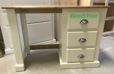 SHAFTESBURY RANGE 3 DRAWER DRESSING TABLE CREAM / PINE TOP & CHROME HANDLES