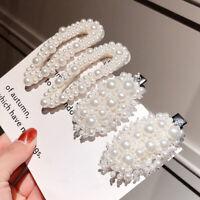 Women Fashion Pearl Hair Clip Snap Barrette Stick Hairpin Bobby Hair Accessories