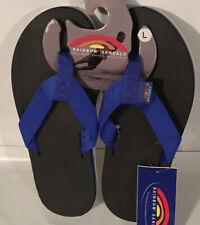 Rainbow Sandals Men's Rubber Blue Strap Black Rubber Single Layer L (9.5-10.5)