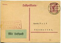 BERLIN to CHEMNITZ Luftpost Airmail Stationery Cover Postal Card GERMANY 1927