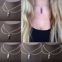 Fashion Women Crystal Quartz Chain Choker Chunky Statement Bib Necklace Gifts