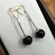 9mm Onyx & 925 Sterling Silver - Black - Drop Dangle Hook Earrings