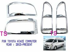 SET CHROME HEAD + TAIL LAMP LIGHT COVER TRIM FOR TOYOTA HIACE COMMUTER 2015 VAN