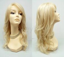 Light Blonde Long Wavy Layered Wig Heat Resistant Synthetic 18""