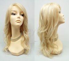 "Heat Resistant Wavy Long Layered Wig Light Blonde Beach Waves 18"""
