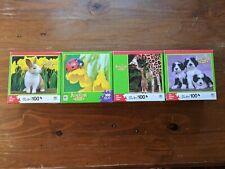 4 Animal Puzzles Lot Rabbit Ladybug Giraffes Dogs