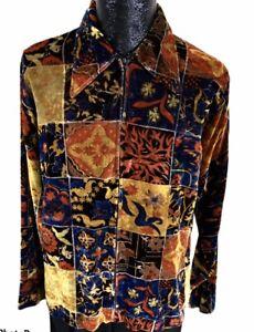 Vtg 70's Sakowitz Men MoD Rayon VELVET Full Zip FLORAL Hippie Disco Club Shirt L